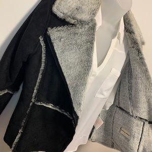 Jackets & Blazers - Black Leather Faux Fur Lined Jacket